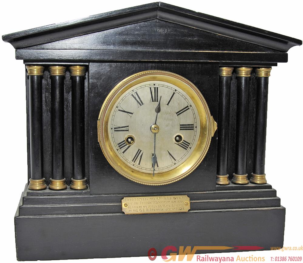 GER  Presentation Clock. Wood Ebonised Case And
