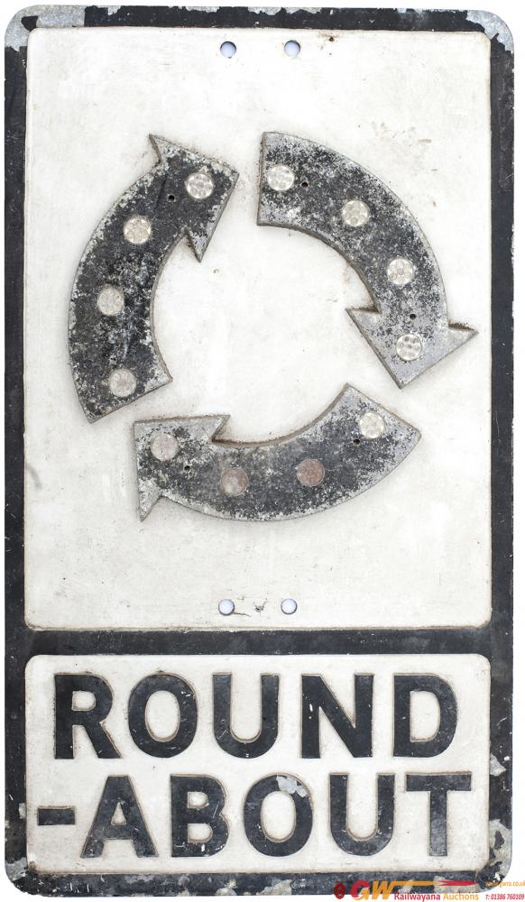 Motoring Road Sign Cast Aluminium ROUND-ABOUT. In