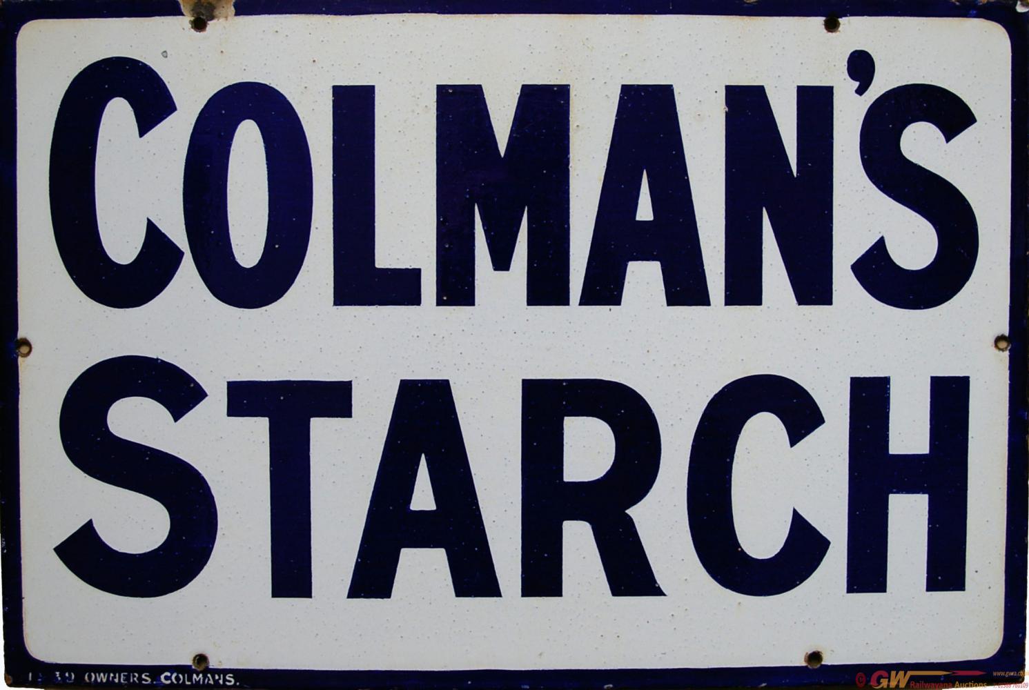 Enamel Advertising Sign 'Colmans Starch'. Blue
