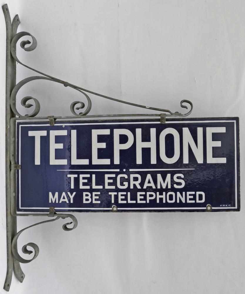 Enamel Sign, 'Telephone - Telegrams May Be