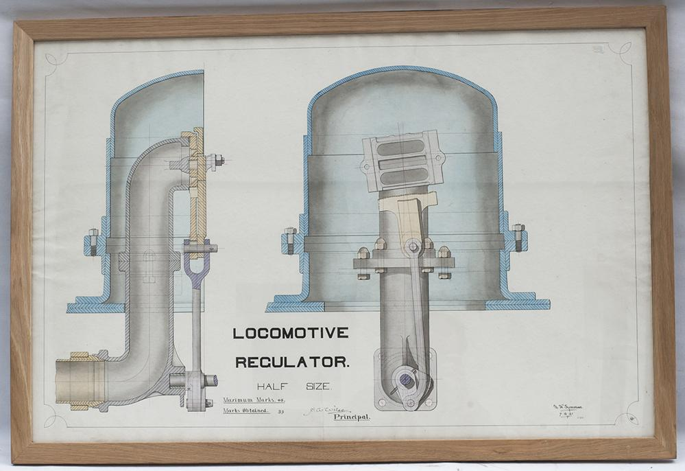 Framed And Glazed Coloured Technical Drawing Of A
