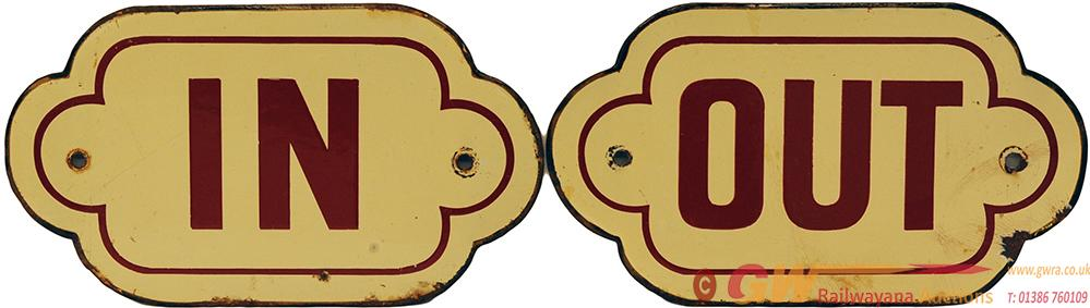 NER Enamel Doorplates, A Pair IN And OUT, Brown