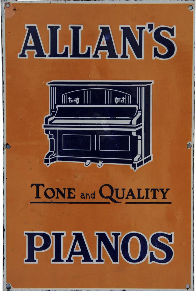 Enamel Advertising Sign 'Allan's Tone & Quality
