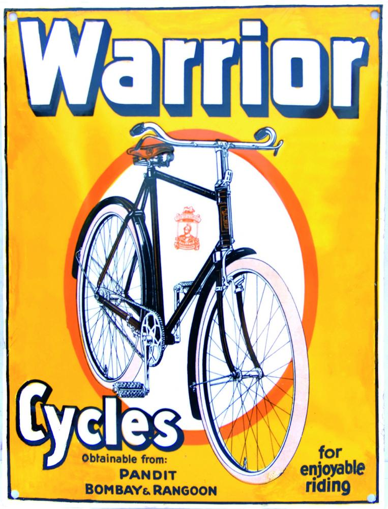 Enamel Advertising Sign 'Warrior Cycles For