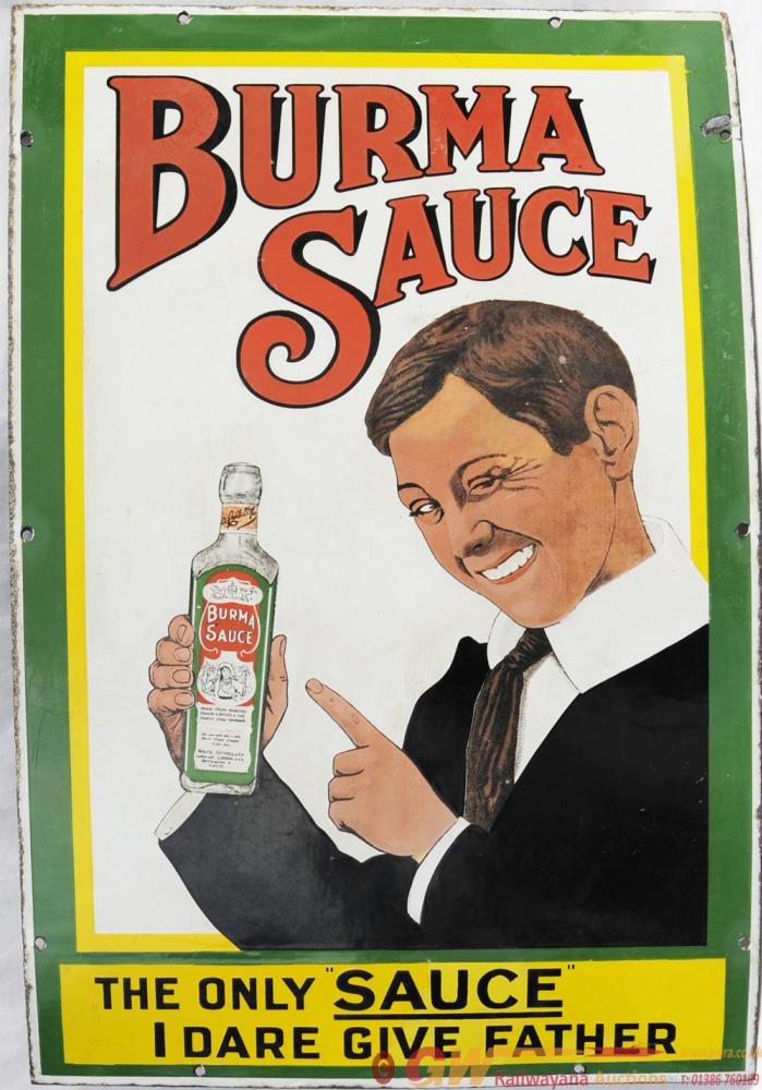 Advertising Enamel Sign 'Burma Sauce - The Only