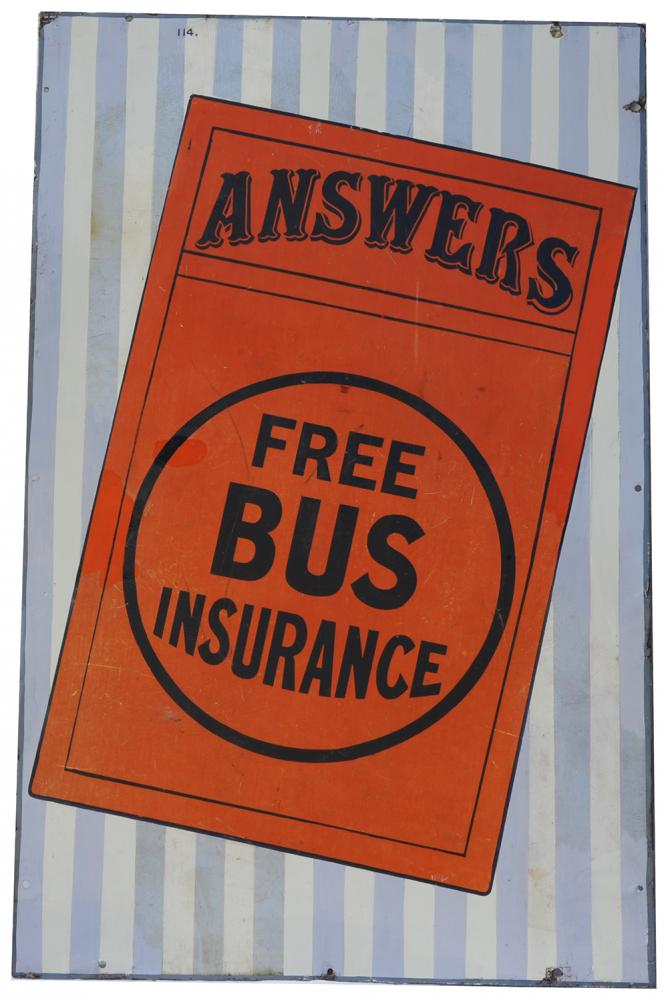 Enamel Advertising Sign 'Answers Free Bus