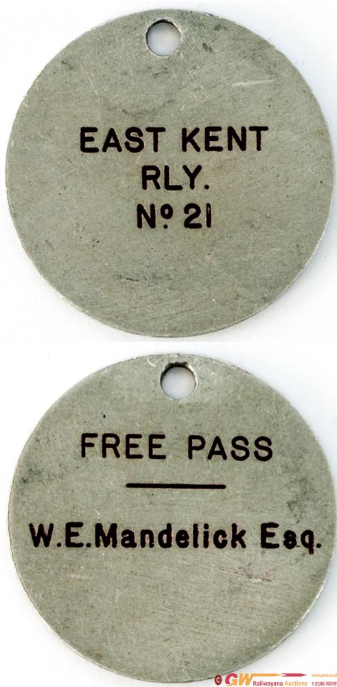 East Kent Railway Free Pass no21 Issued To W. E.