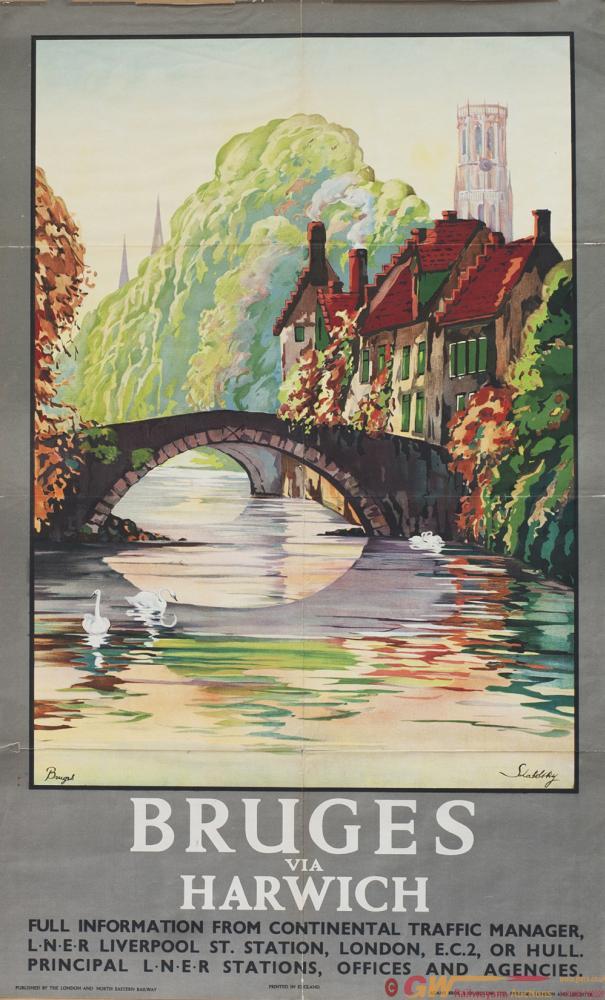 Poster LNER BRUGES VIA HARWICH By Schabelsky.