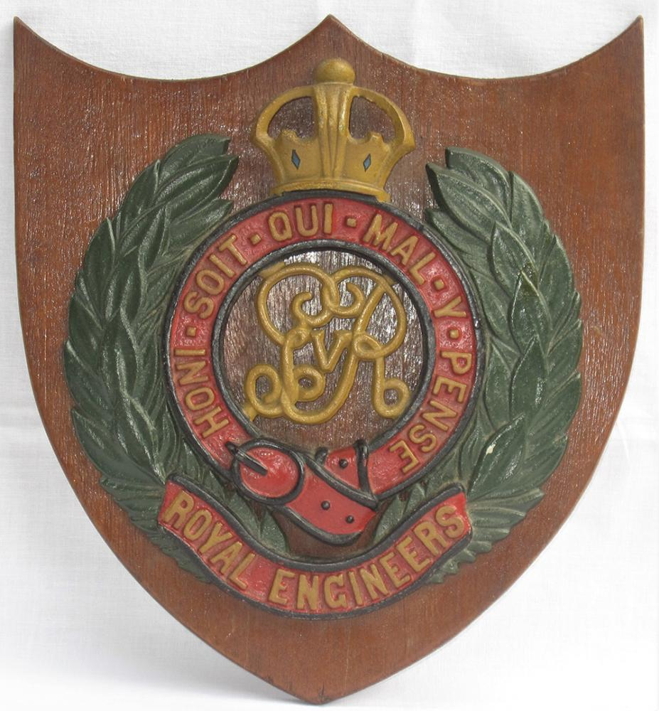 ROYAL ENGINEERS Crest Mounted Onto A Wooden