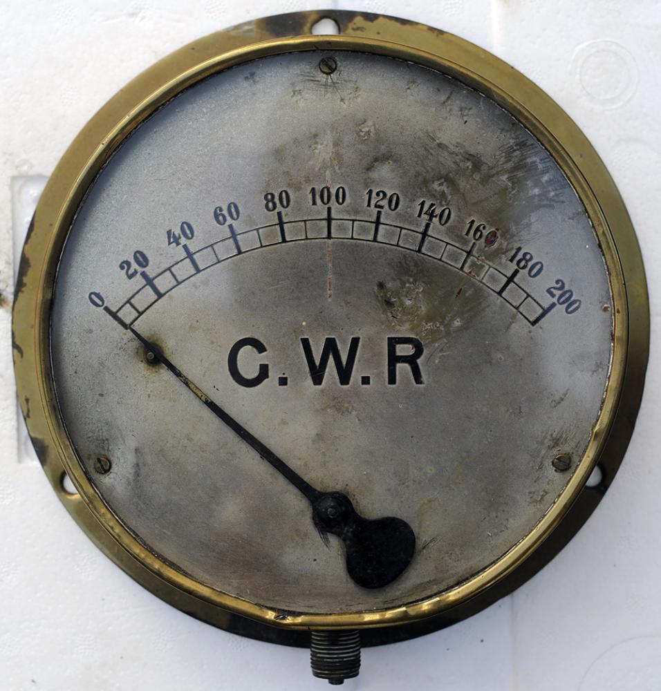 GWR Locomotive Brass Case Pressure Gauge 0-200 Psi