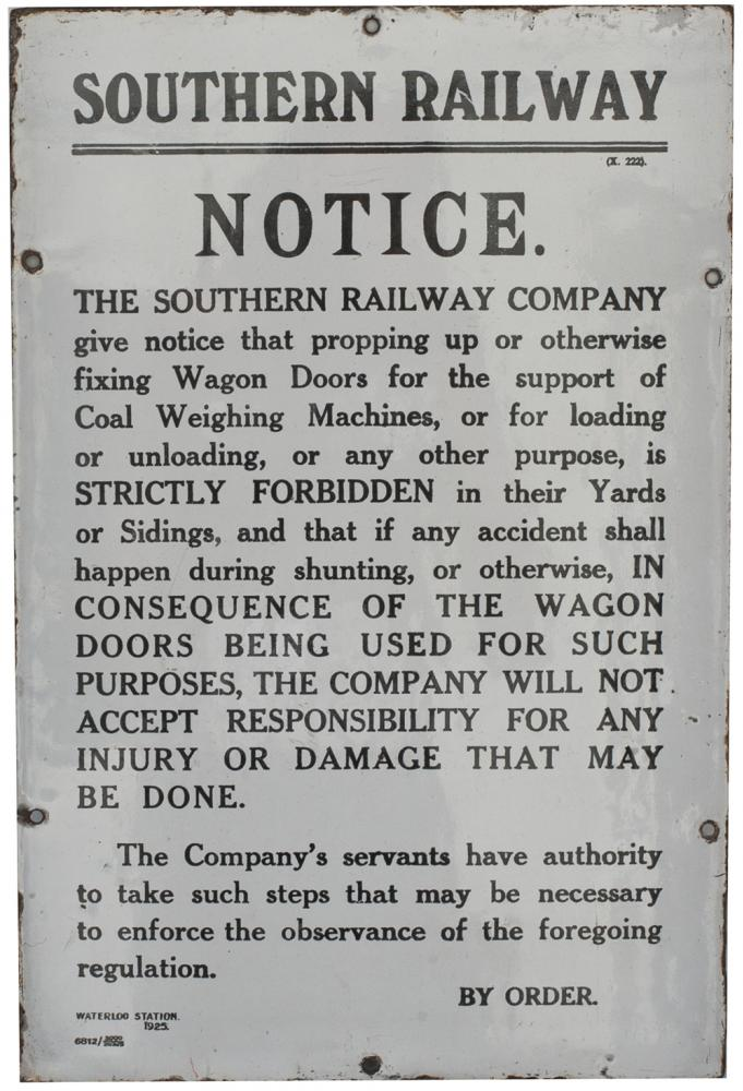Southern Railway Enamel Sign Re PROPPING UP WAGON
