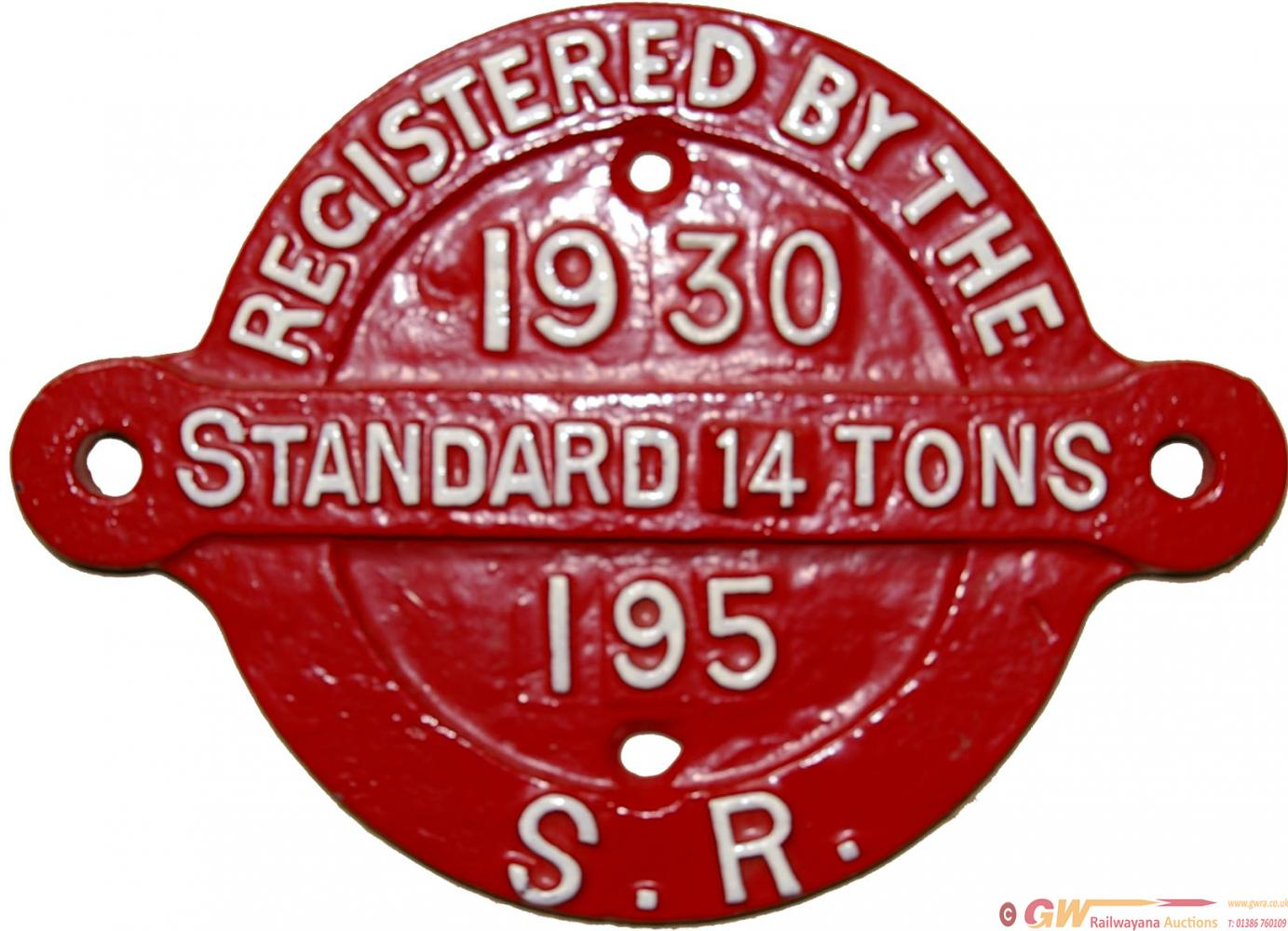 Southern Railway Wagon Registration Plate ,