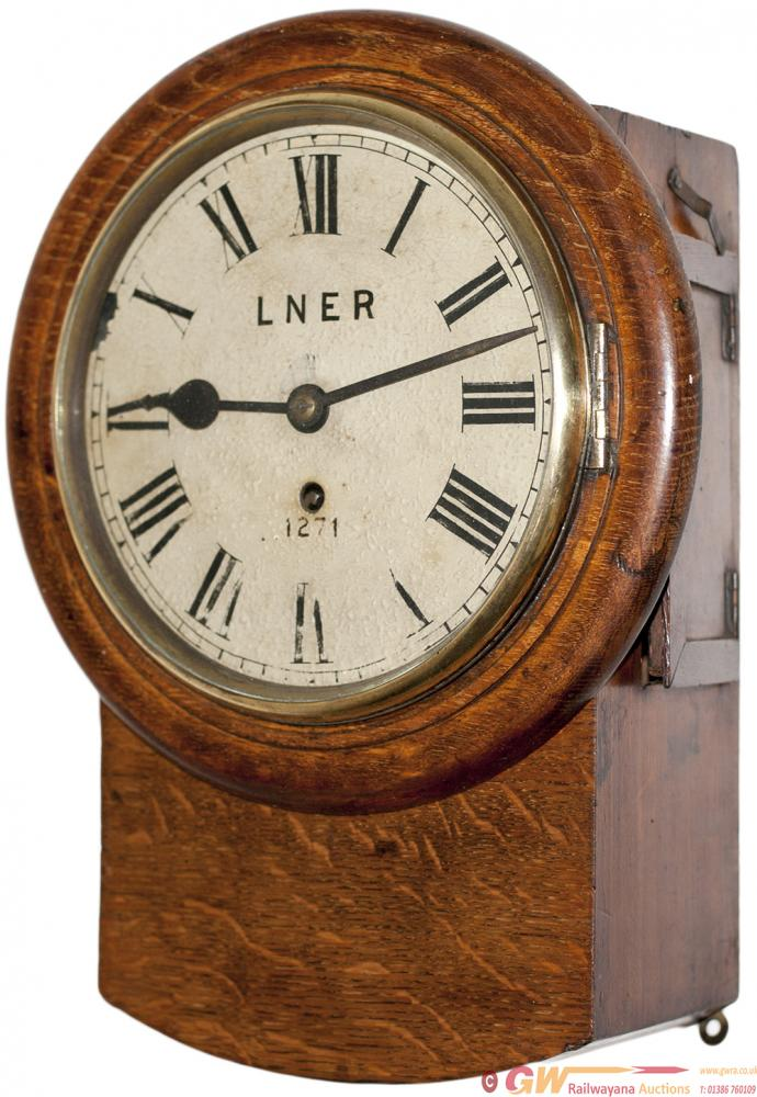 North Eastern Railway 8 Inch Oak Cased Drop Dial