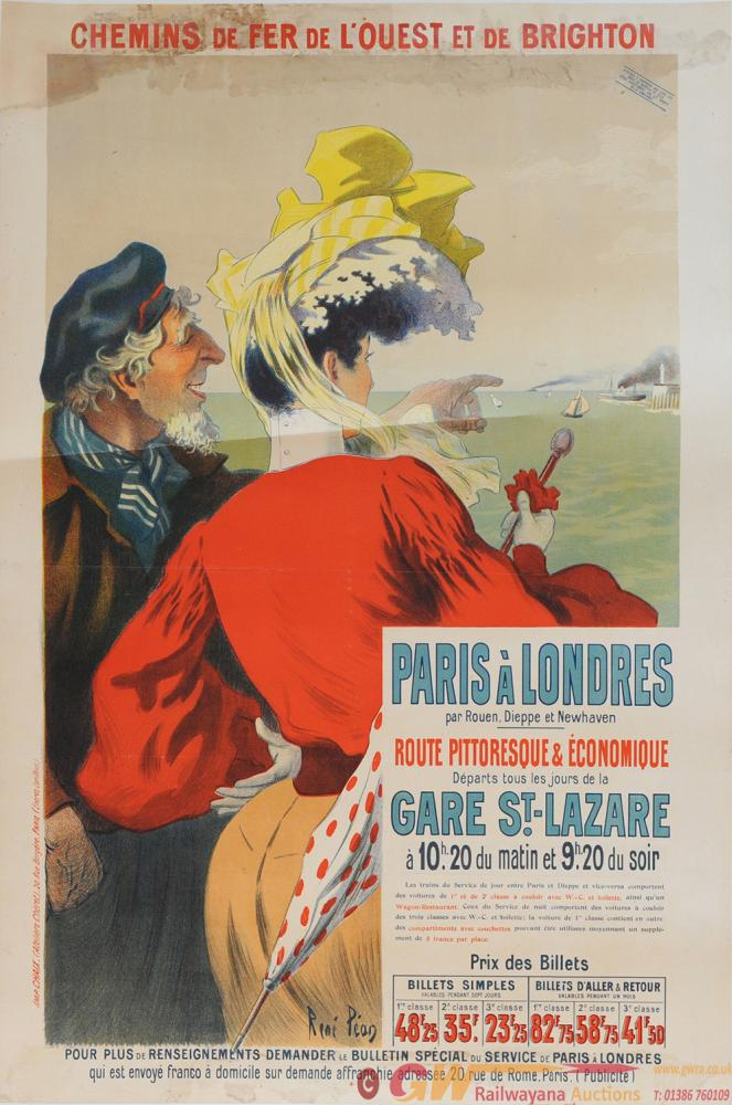 Poster 'Chemins De Fer De L'Ouest Et De Brighton'