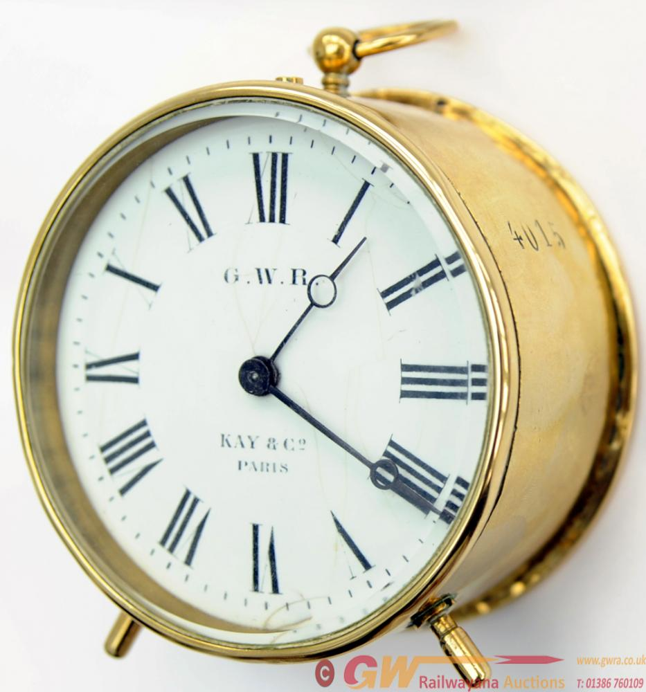 GWR BRASS DRUM CLOCK No 4015, With Enamelled Dial