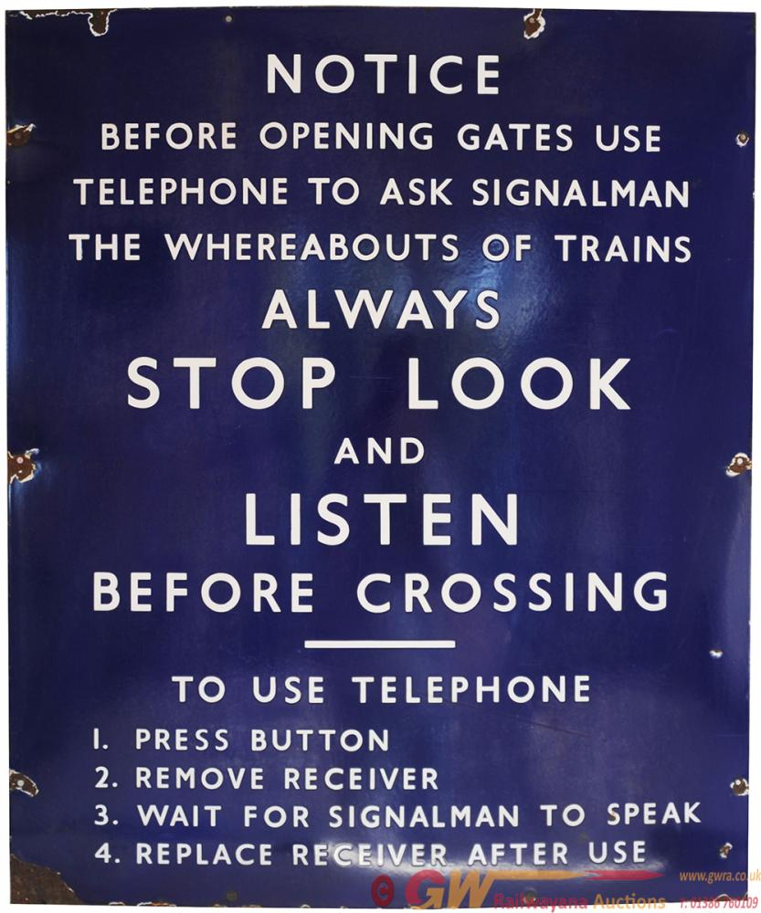 BR(E) Enamel Sign NOTICE BEFORE OPENING GATES USE