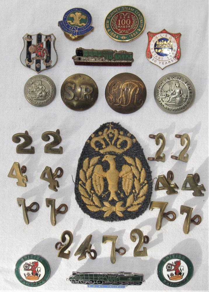 A Collection Of Railway Buttons, Enamel Badges And