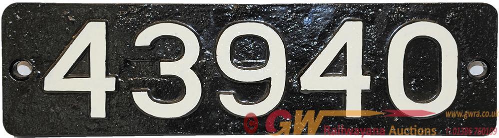 Smokebox Numberplate 43940. Ex LMS Fowler 4f