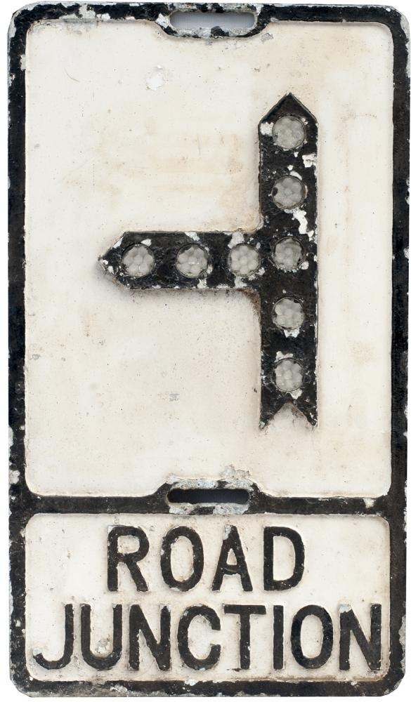Road Sign ROAD JUNCTION Cast Aluminium With Glass