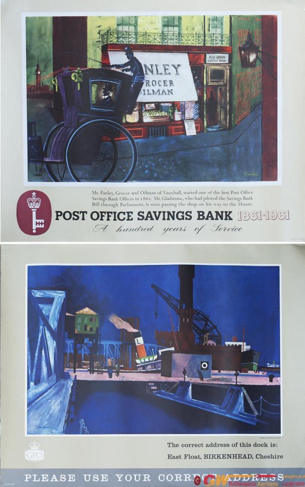 Posters GPO x2 POST OFFICE SAVINGS BANK 1861-1961