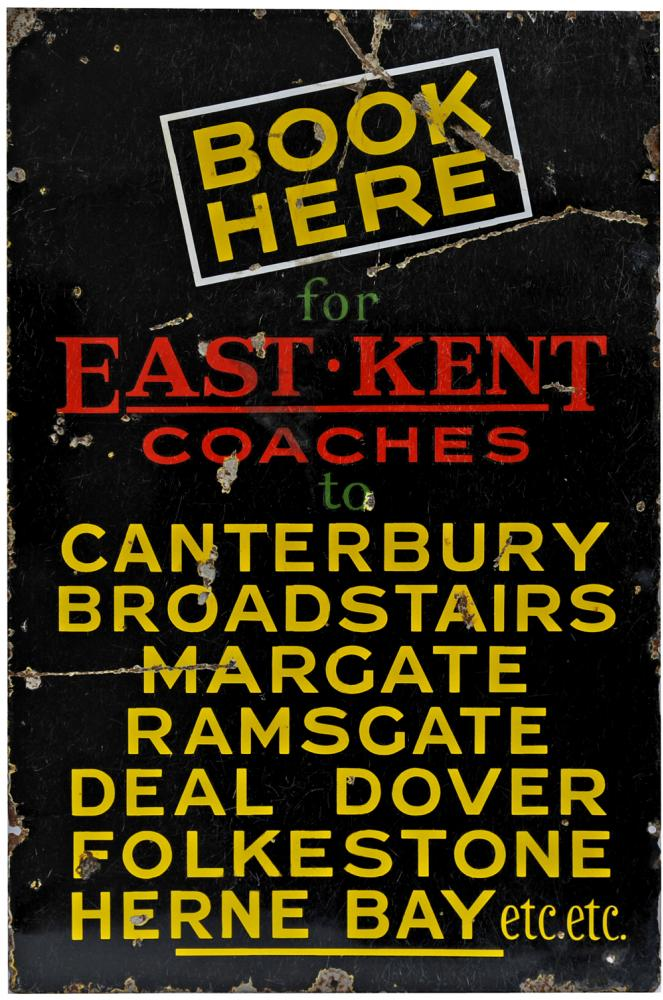 Enamel Advertising Sign East Kent Coaches Book