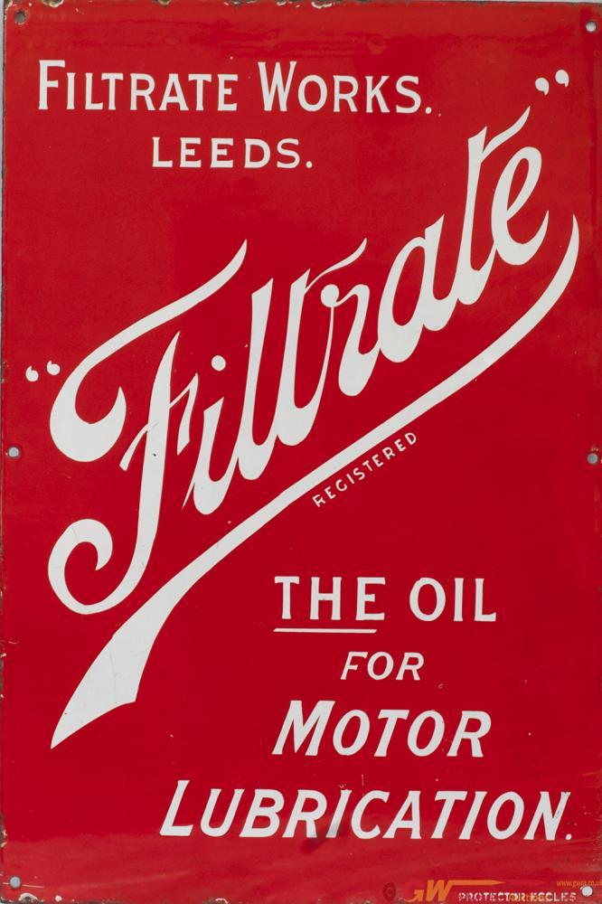 Motoring Enamel Advertising Sign FILTRATE THE OIL