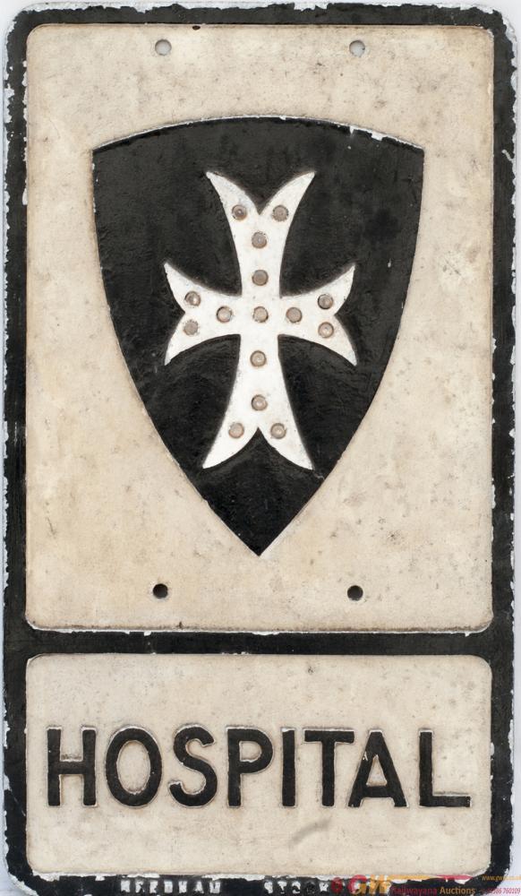 Road Motoring Sign HOSPITAL. Cast Aluminium