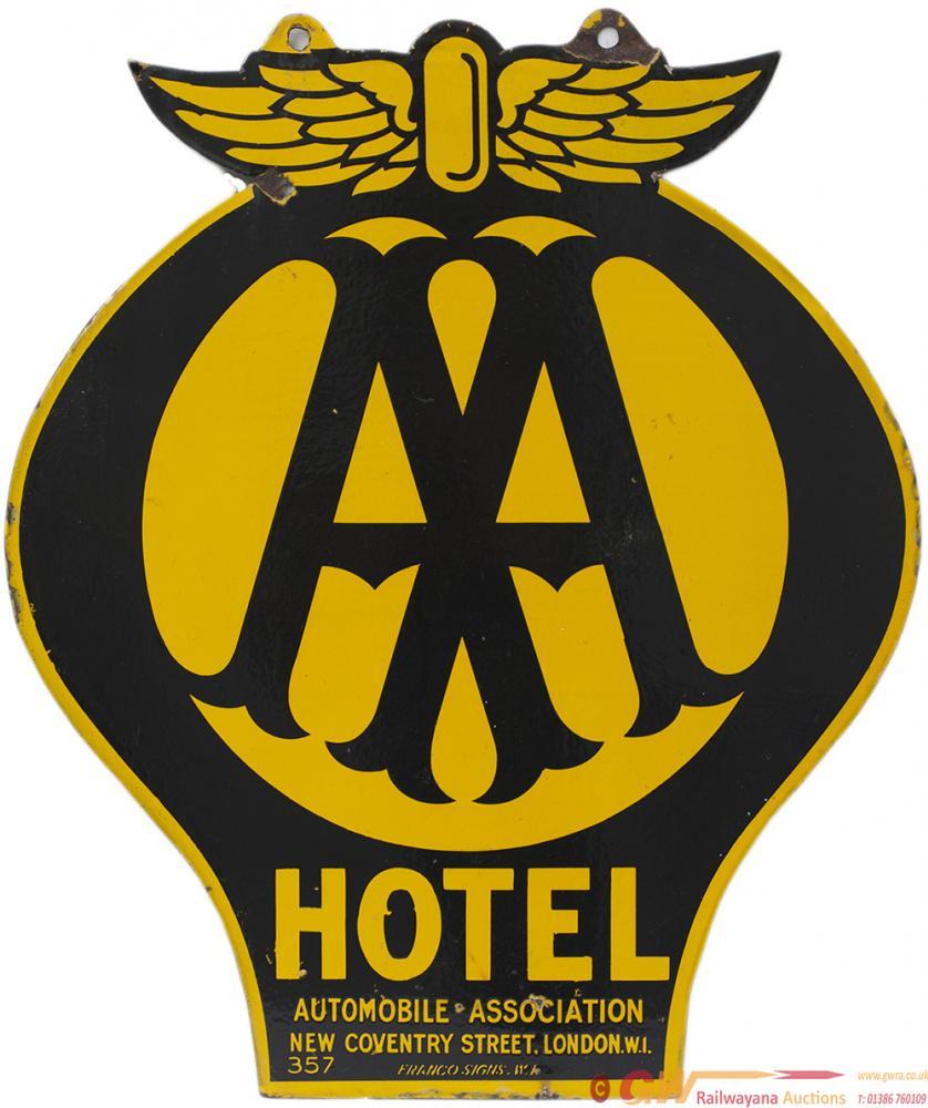 AA Motoring Enamel Sign AA HOTEL AUTOMOBILE