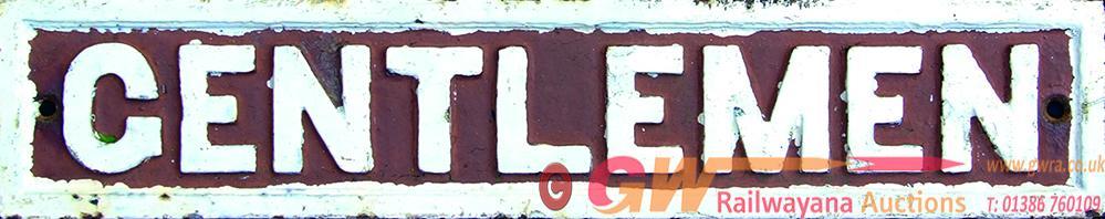 GWR C/I Doorplate, GENTLEMEN, Raised Border Style.