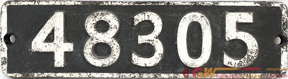 Smokebox Numberplate 48305 Ex Stanier 8f 2-8-0