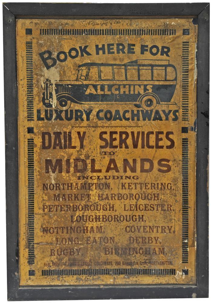 Advertising Show Card Allchins Luxury Coachways