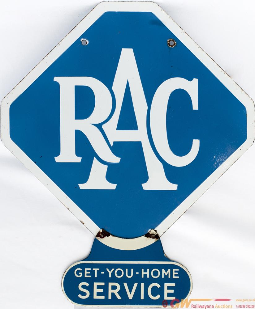 RAC Motoring Enamel Sign RAC With Extra Sign Fixed