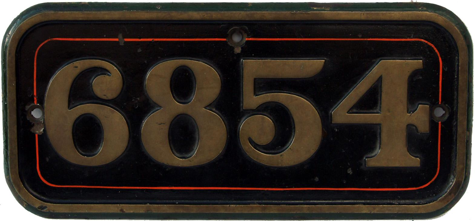 Cabside Numberplate 6854, Ex GWR Grange Class
