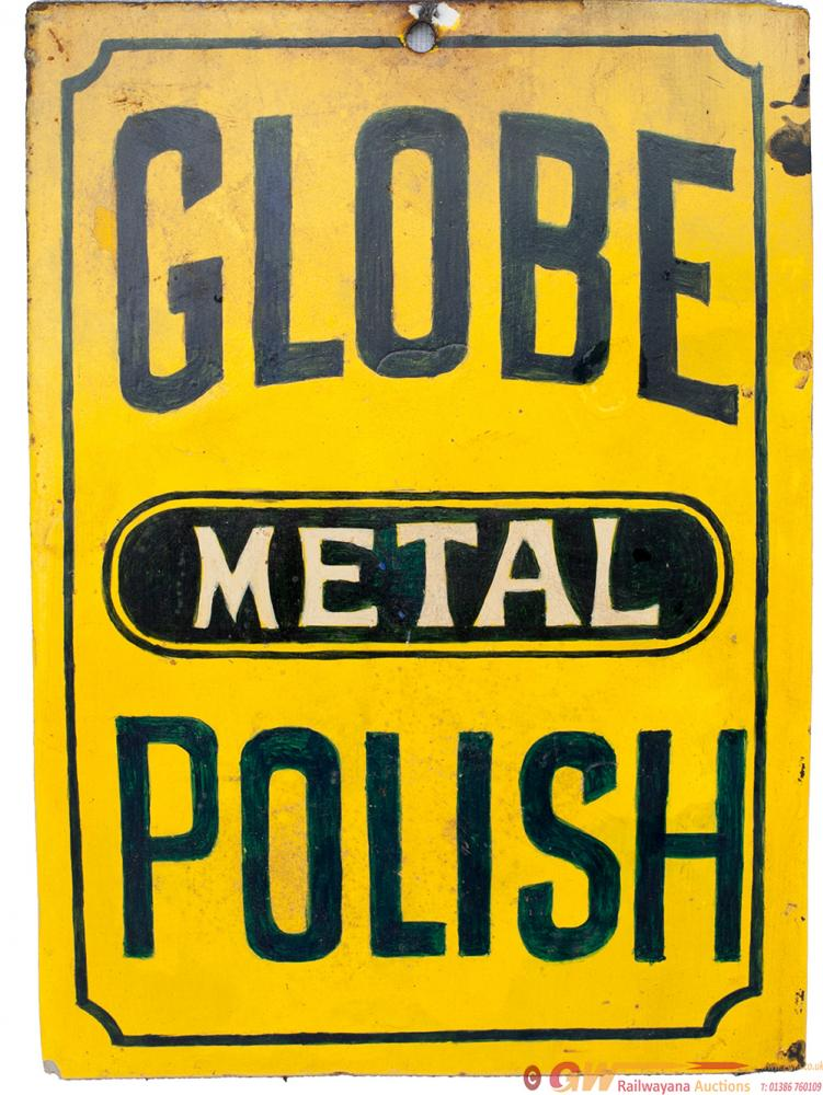Advertising Enamel GLOBE METAL POLISH Measures 7in
