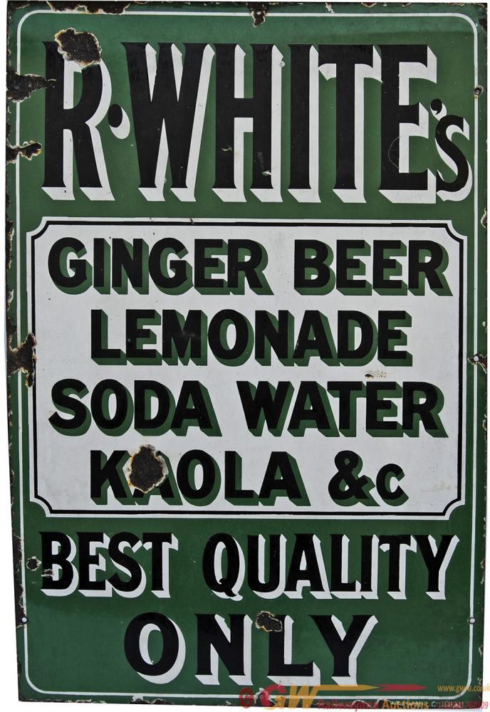Enamel Advertising Sign 'R Whites Ginger Beer