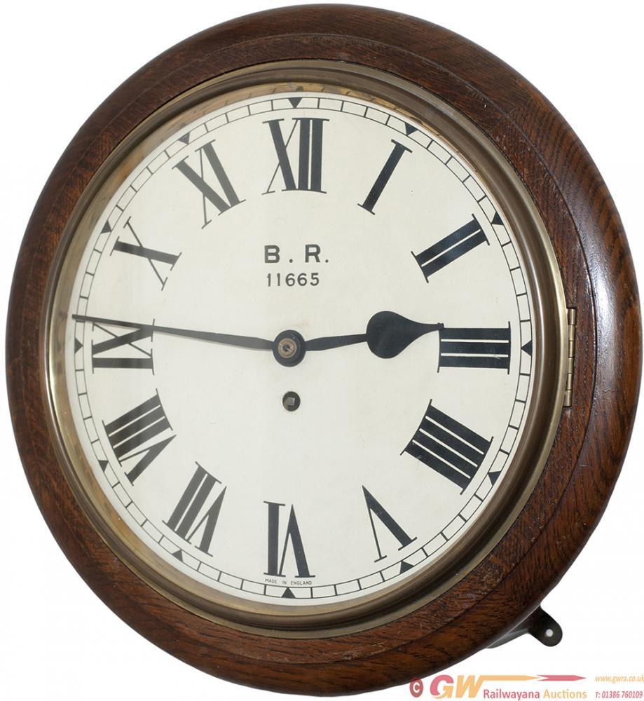LNER 12in Oak Cased Fusee Railway Clock Ex Barnby