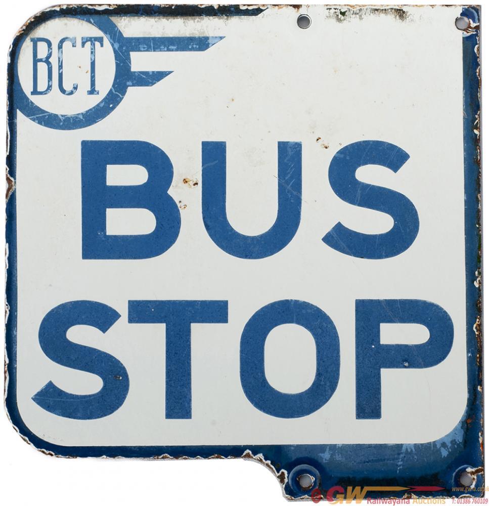 Motoring Bus Enamel Sign BCT (BRADFORD CORPORATION