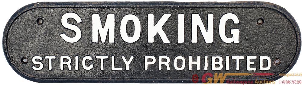 LNER Cast Iron Doorplate SMOKING STRICTLY