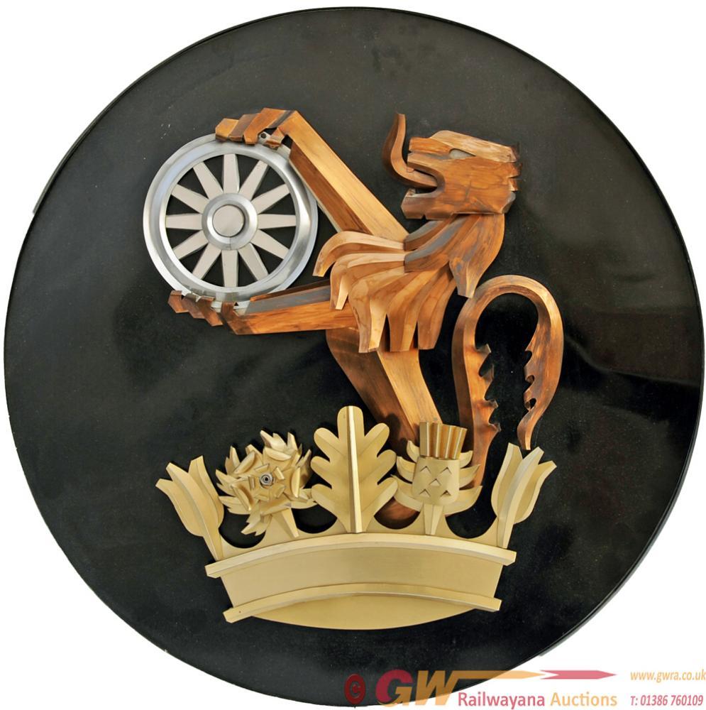 British Railways Lion-Over-Wheel Emblem Mounted On