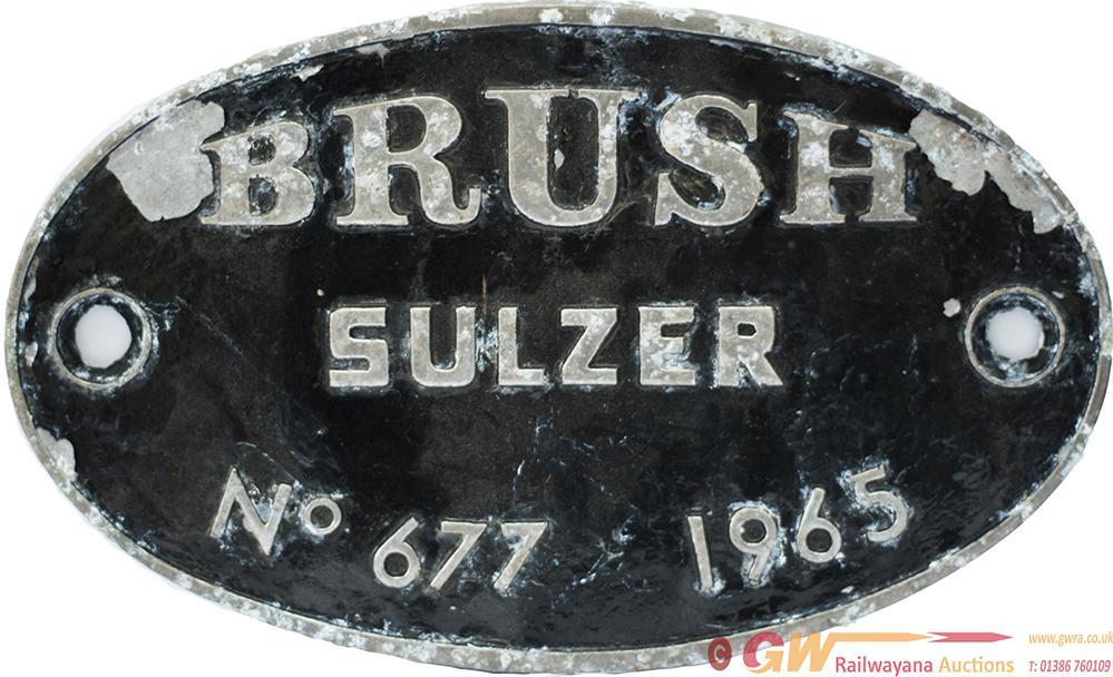 Diesel Worksplate Oval Cast Aluminium BRUSH SULZER