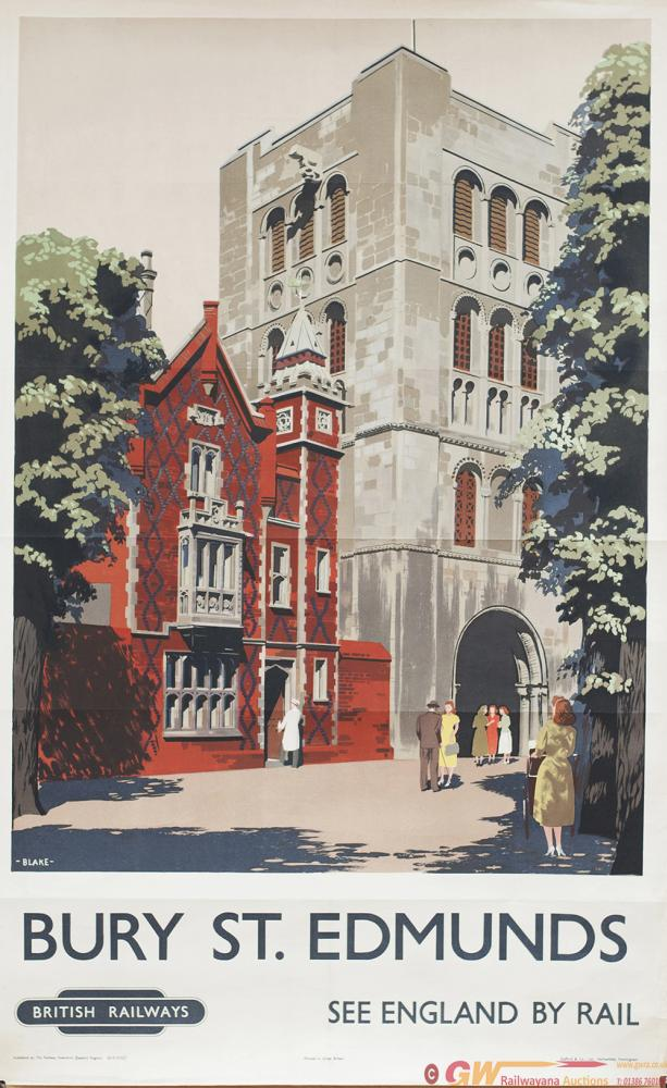 Poster BR BURY ST EDMUNDS By DONALD BLAKE. Double