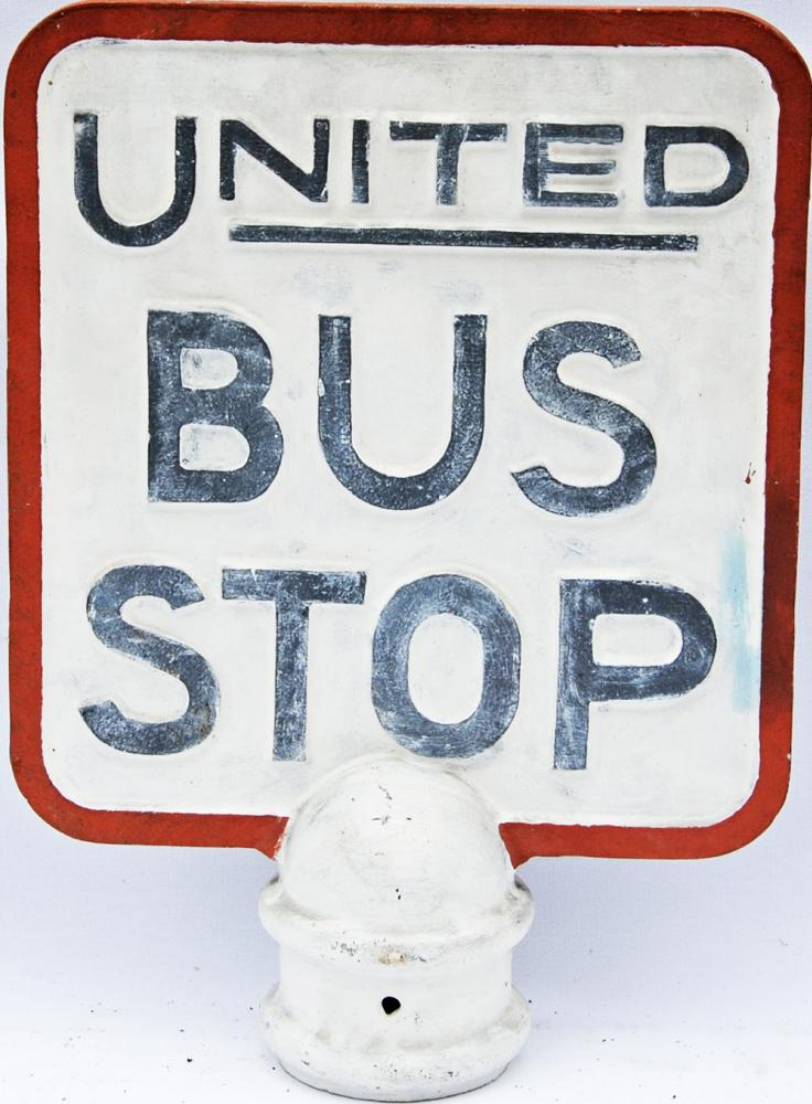 United Bus Stop Alloy Sign, Double Sided With