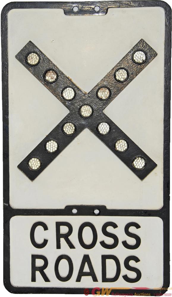 Cast Aluminium Road Sign CROSS ROADS, 21 X 12