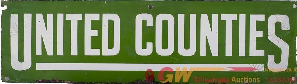Bus Motoring Enamel Sign UNITED COUNTIES Poster