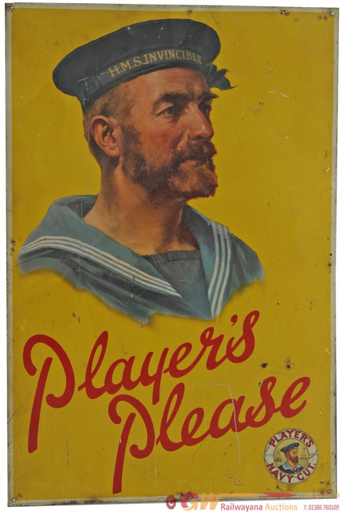 Tinplate Advertising Sign 'Players Please'