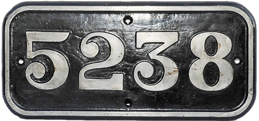 GWR C/I Cabside Numberplate 5238. Ex GWR