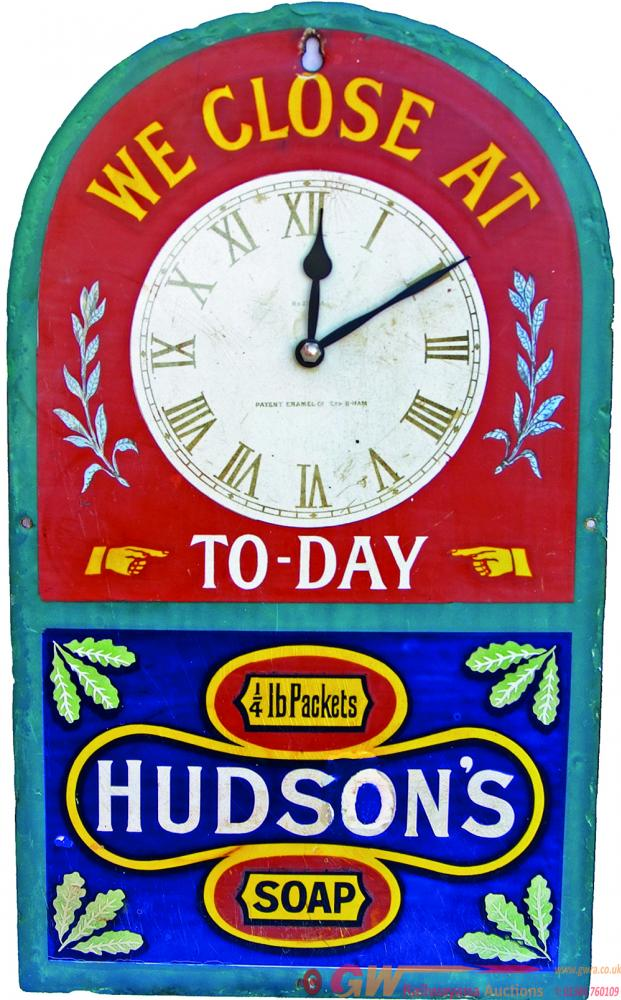 Enamel Advertising Sign 'Hudsons Soap
