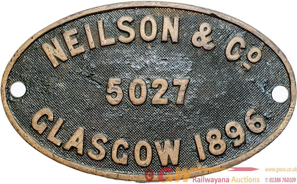 Worksplate NEILSON & CO GLASGOW 5027 1896 Ex GNR