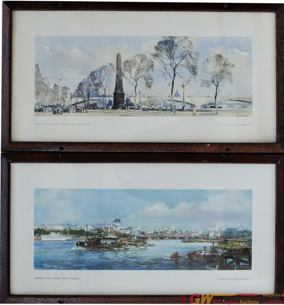 Carriage Prints, A Pair; LONDON RIVER THAMES