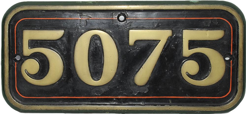 GWR Cabside Numberplate 5075. Ex 4-6-0 Castle